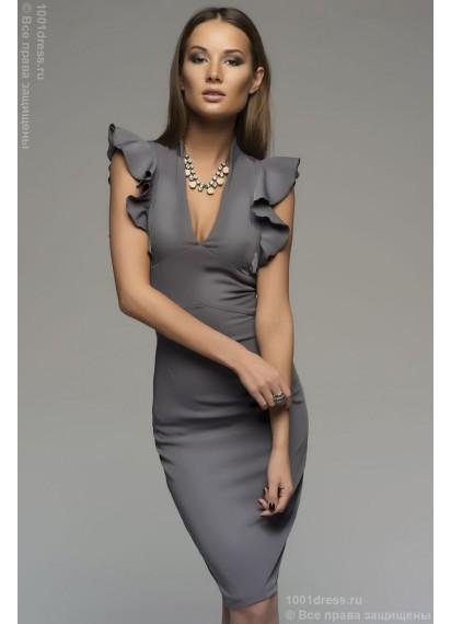 Серое платье-футляр с воланами на плечиках