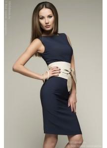 Платье синее с песочным поясом