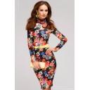 Платье черное длины мини с цветочным принтом и длинными рукавами