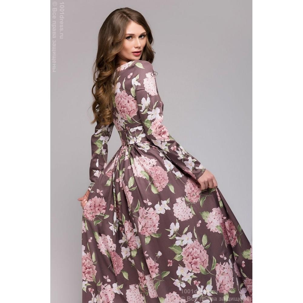 Купить длинное платье с принтом