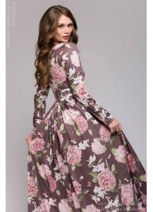 Длинное хлопковое платье с крупным цветочным принтом