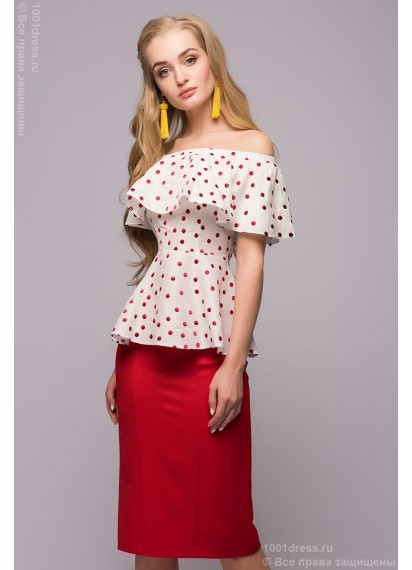Комплект из красной юбки длины миди и белой блузки в горошек