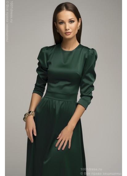 Платье длины макси изумрудное с длинным рукавом