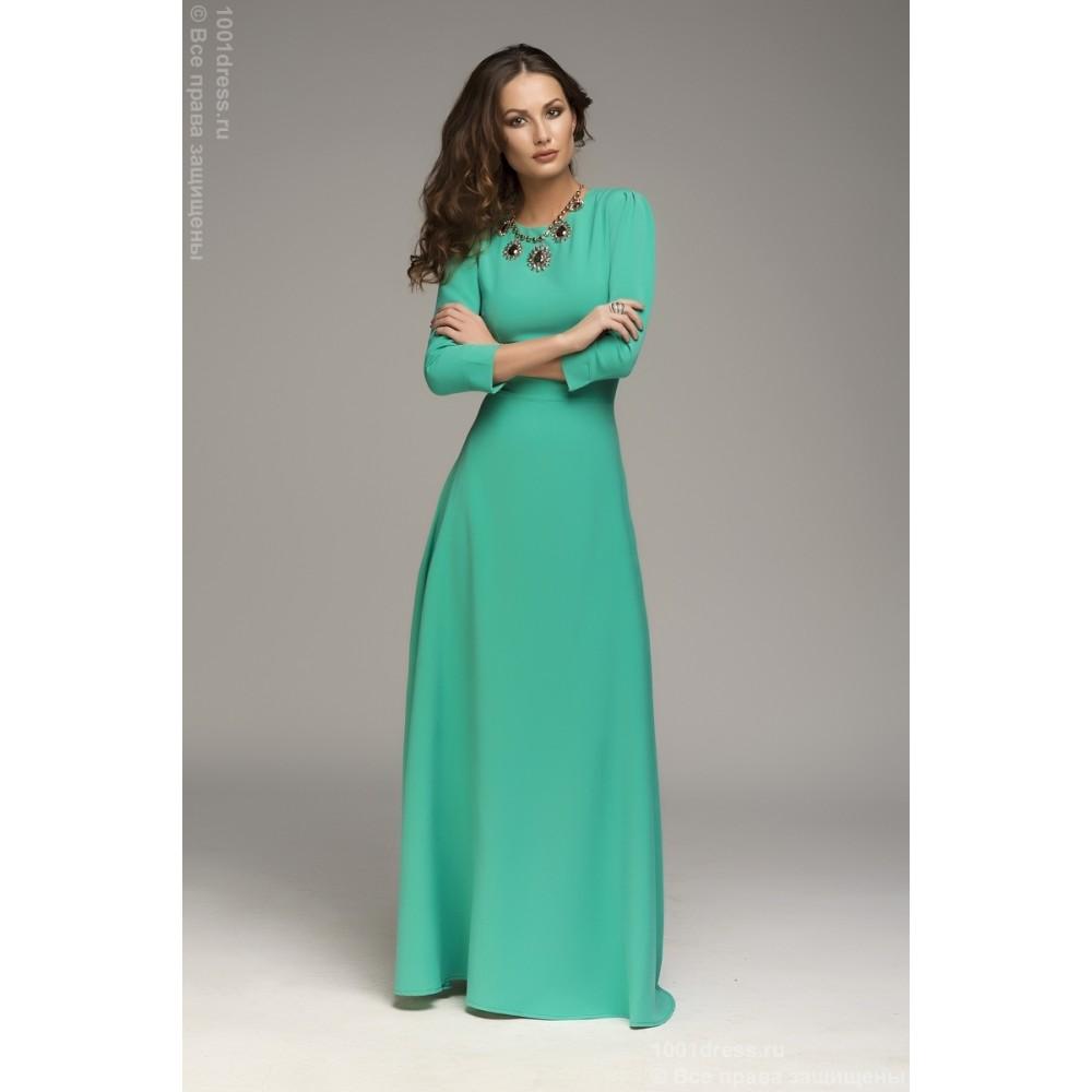 Длинное платье в пол с рукавами для полных