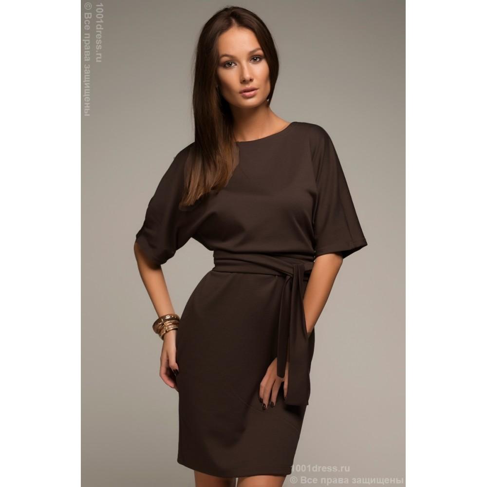 Шоколадное платье футляр