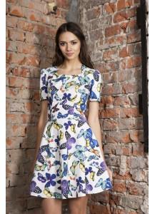 """Платье с принтом """"бабочки"""" с вырезом в русском стиле в области декольте"""