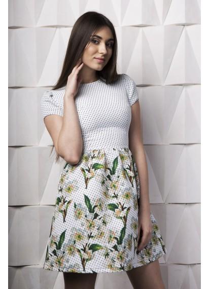 Платье в горох с цветочным принтом на юбке