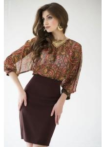 Платье шоколадное с принтованным верхом и рукавом летучая мышь