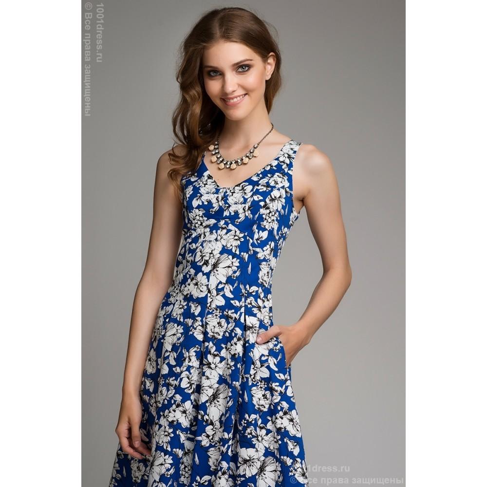 Синее С Белым Платье