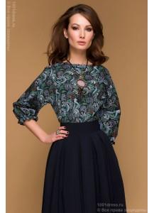 """Темно-синее платье длины миди с принтованным верхом и рукавом """"летучая мышь"""""""