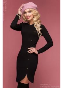 Черное платье с пуговицами сбоку и длинными рукавами