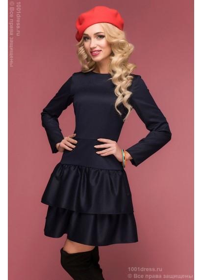 Темно-синее платье с длинными рукавами и двумя воланами