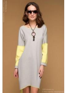 Двухстороннее желто-серое платье с длинным рукавом