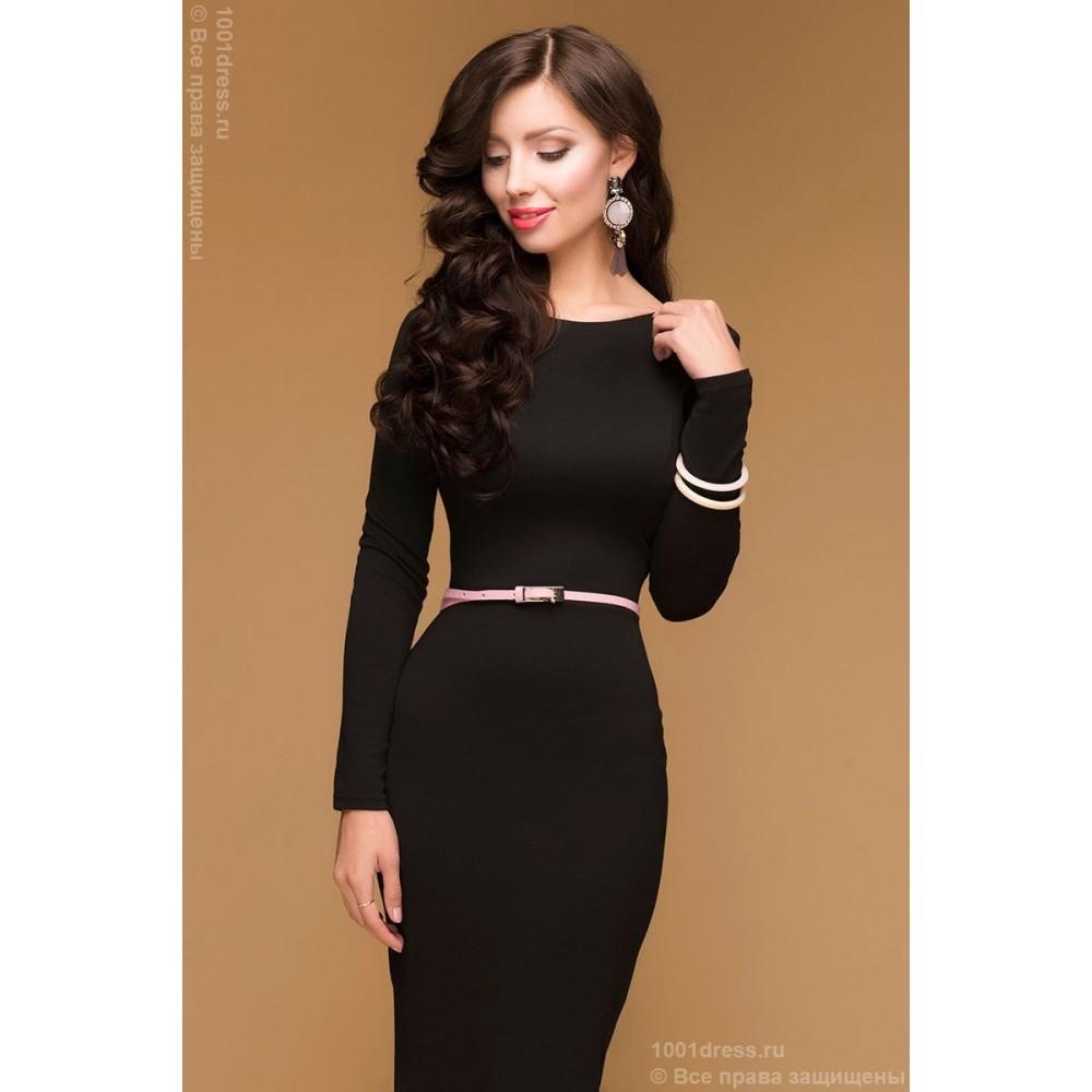 3af7e73c39e Черное коктейльное платье с глубоким вырезом на спинке и длинными рукавами