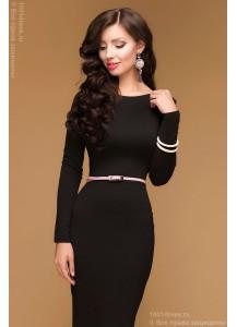 Черное коктейльное платье с глубоким вырезом на спинке и длинными рукавами