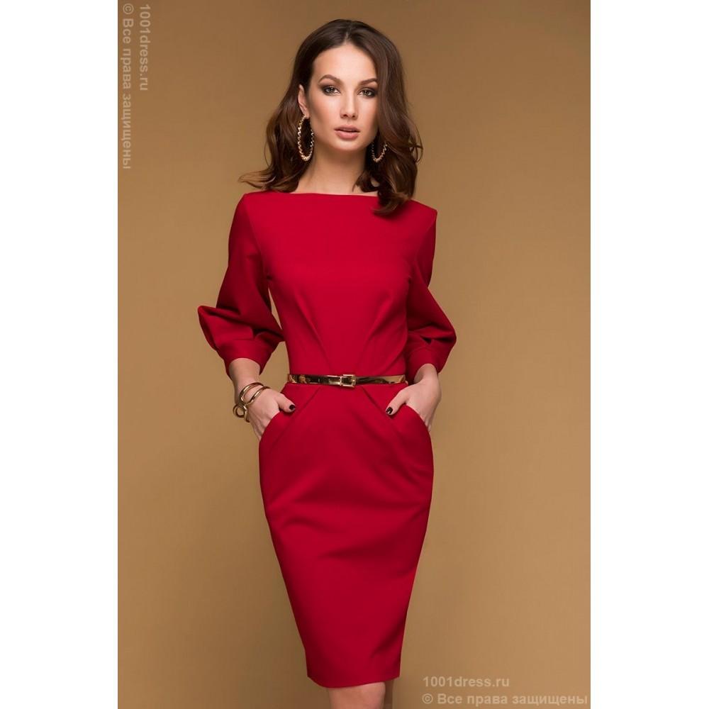 Красное платье до колена купить