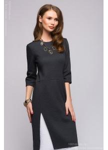 Серое платье длины миди с имитацией нижней юбки