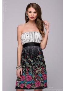 Платье длины мини черное кружевное с цветочным принтом и светлым верхом