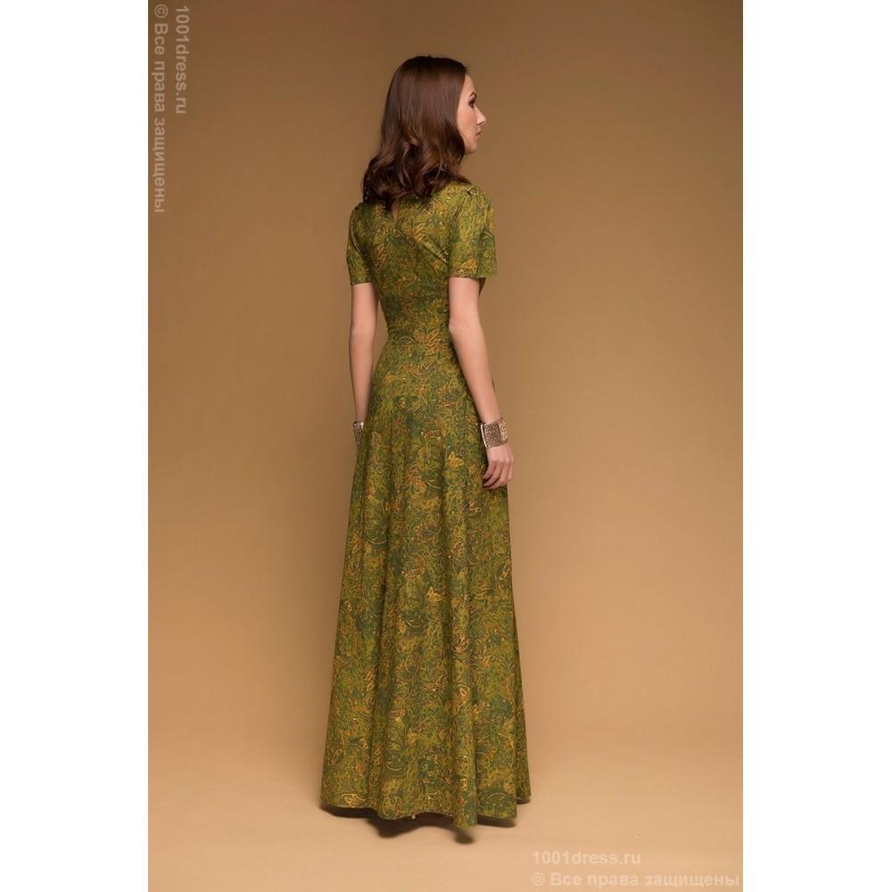 Платье в пол оливковое