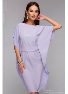Платье сиреневого цвета с декоративной деталью по боковым швам длины мини