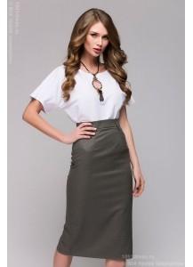 Серая юбка-карандаш длины миди