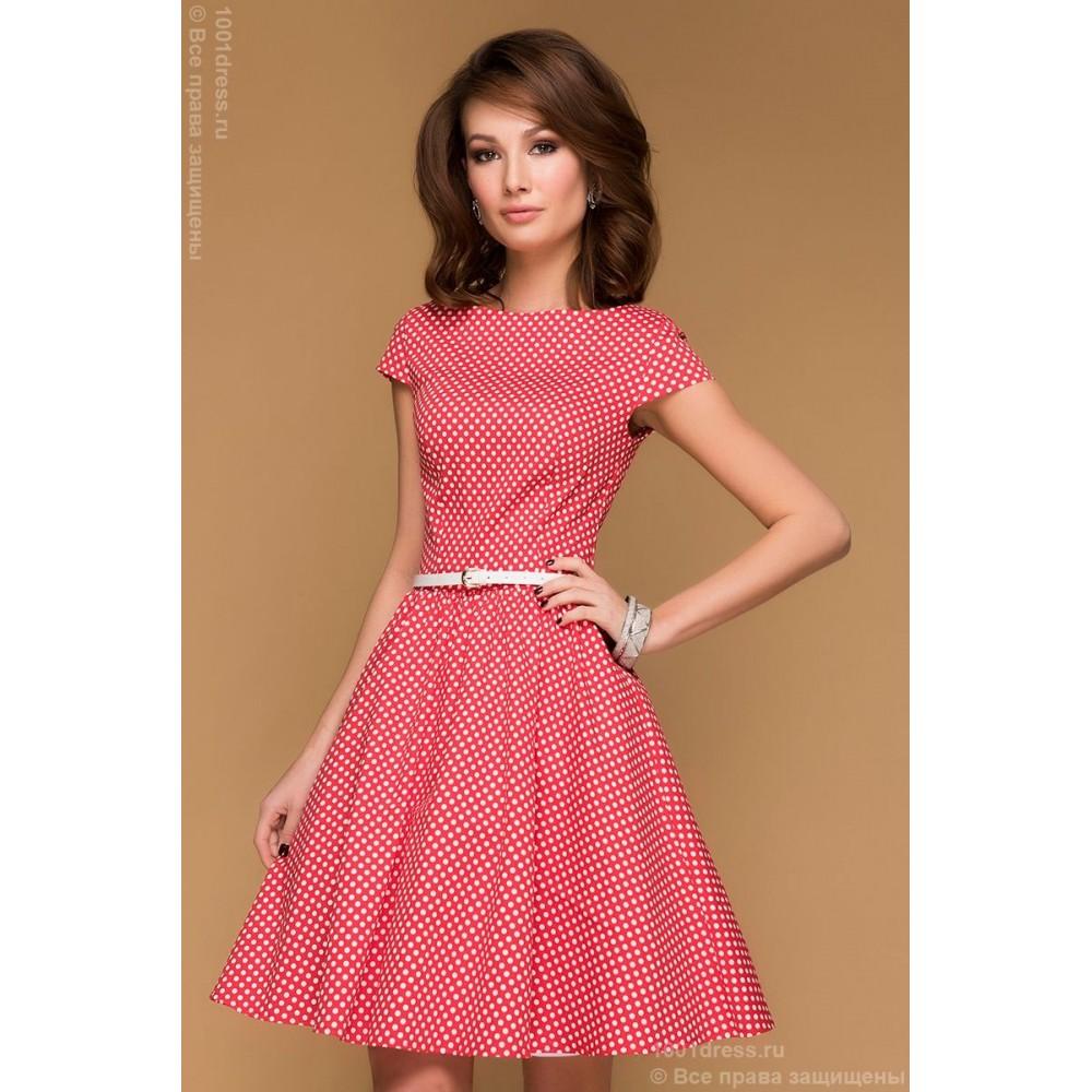 Красное платье в горошек купить