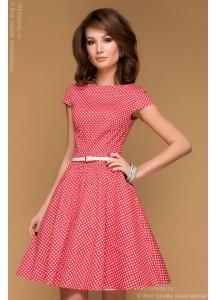 Красное платье в горошек с короткими рукавами