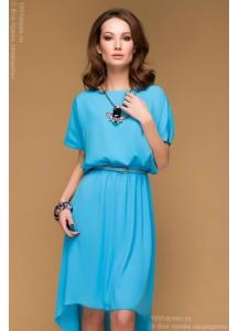 Голубое разноуровневое платье с коротким рукавом