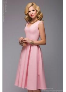 Розовое платье длины миди без рукавов из жаккарда
