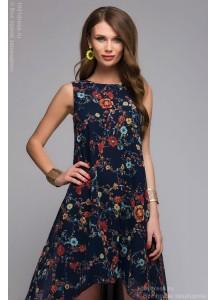 Разноуровневое синее платье