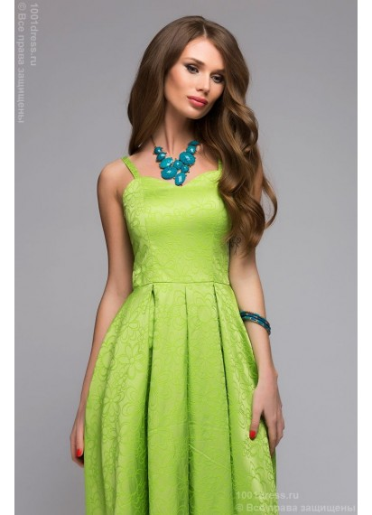 Зеленое платье длины миди с цветочным принтом и открытым верхом