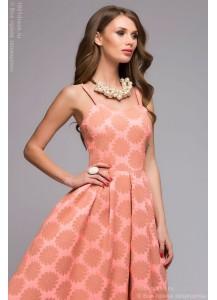 Розовое платье длины миди с цветочным принтом с открытым верхом