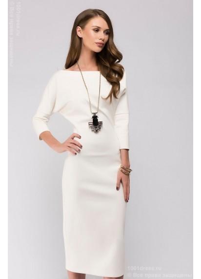 Ванильное платье длины миди со свободным верхом