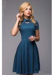 Синее платье длины мини с отложным воротником и мелким принтом