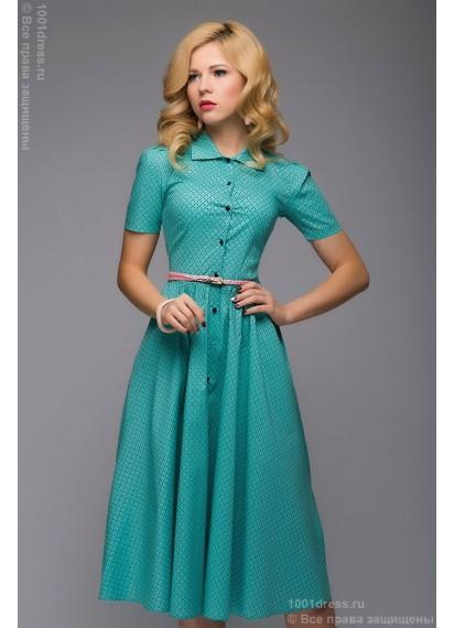 Мятное платье длины миди с рубашечным верхом