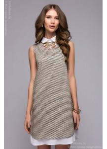 Бежевое платье-рубашка свободного силуэта