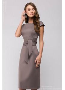 Платье-футляр бежевое без рукавов