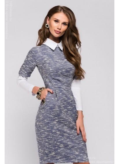 Синее платье длины мини с длинными рукавами и белым воротником