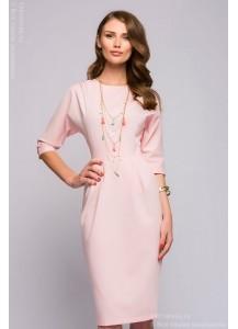 Платье розовое длины миди с открытой спинкой и рукавом