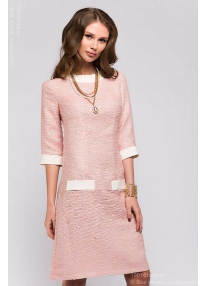 Платье персикового цвета длины мини с ванильной отделкой и рукавами 3/4