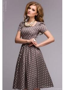 Платье бежевое в горошек в ретро-стиле