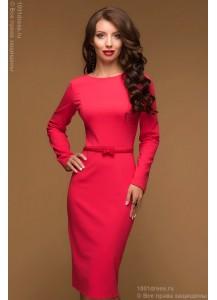 Платье коралловое длины миди с вырезом на спине и длинными рукавами