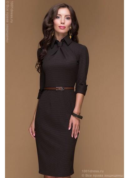 Платье-футляр шоколадное длины миди в мелкий горошек с имитацией галстука