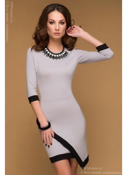 Платье серое длины мини с черной окантовкой