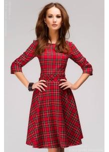 """Платье красное с принтом """"шотландская клетка"""""""