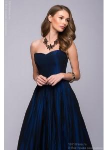Платье-корсет темно-синее длины макси