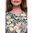Платье длины миди с цветочным принтом и длинными рукавами