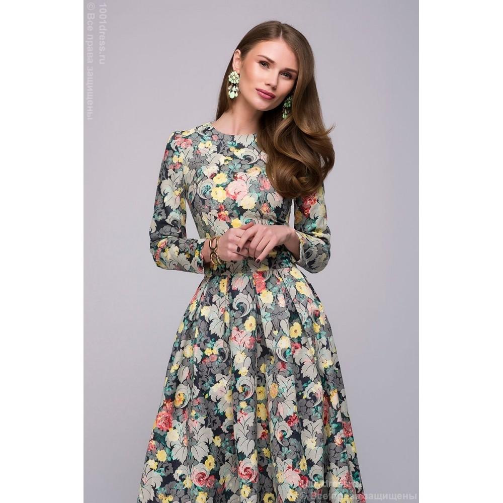 700fa71e2aeec2e Платье длины миди с цветочным принтом и длинными рукавами DM00446BL ...