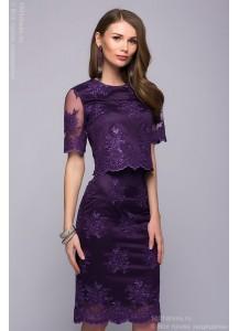 Увеличить фотографию Комплект фиолетовый из кроп-топа и юбки-карандаш