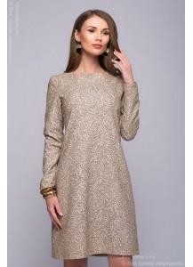 Бежевое платье длины мини с шоколадным принтом
